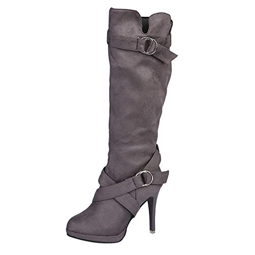 Seaintheson Women's Lace up Thigh High Boots, Ladies Shoes Buckle Roman Platform High Heels Knee Long Booties Gray