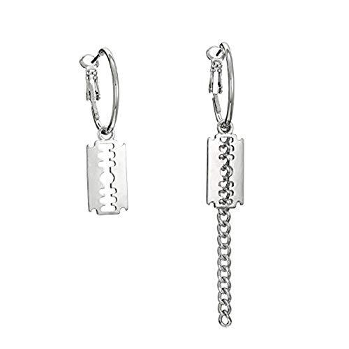 (Razor Blade Hoop Earrings Dangle Simple Geometric Circle Chain Blade Shaped Dangle Drop Earrings for Women Girls Jewelry Gifts)