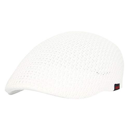 WITHMOONS Ivy Cap Summer Mesh Newsboy Gatsby Applejack Hats AM31168 (White) -