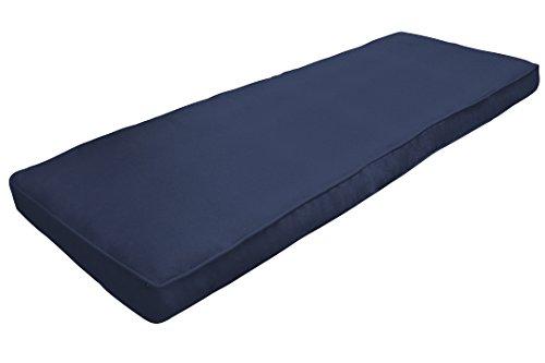 Navy Blue Sunbrella (Amazon Custom Furnishings x Easy Way Products 20755 Custom Zipped Double Piped Bench Cushion, 48