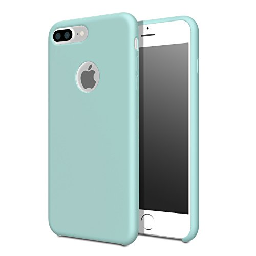 For iPhone 7 Plus Case - MoKo Slim Shockproof Liquid Silicone Gel Rubber Protective Case Soft Touch Back Cover for Apple iPhone 7 Plus 2016, Sea Blue (Mint Green) Sea Mint