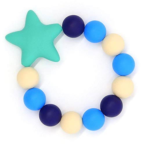 HiGuard Baby Teether Ring - BPA Free Silicone Teething Beads Bracelet for Baby Infant and Toddler - Stylish & Safe Baby Gum Pain Relief Teether (Blue)