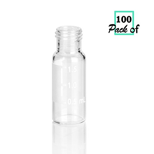 Sample Vial Screw Thread (Autosampler Vials,2mL Clear Sample Vials with Write-on Spot and Graduations,Screw top 9-425 Thread Finish,12mm ID x 32mm L(Pack of 100))