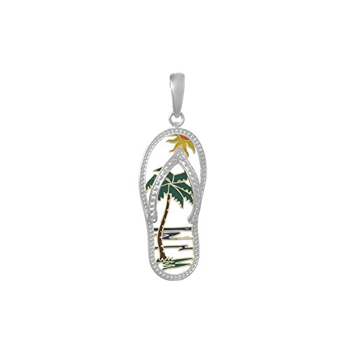 925 Sterling Silver Flip-Flop Charm Pendant, Beach Scene Palm Tree Cut-out, Enamel