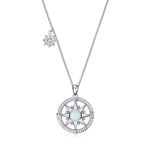POPLYKE Sterling Silver Compass Pendant Necklace with Created Opal,Inspirational Necklace for Women Girls