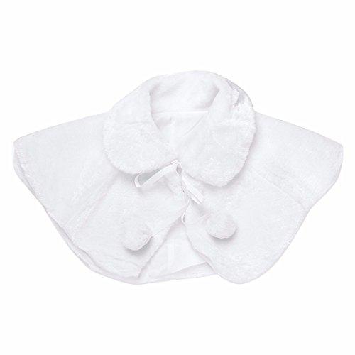 YiZYiF Princess Faux Fur Shrug Bridesmaid Flower Girls Bolero Shoulder Cape Coat White 5-6