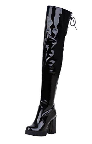 YE Damen High Heels Plateau OverKnee Lack Schnürstiefel High Boots mit Blockabsatz Reißverschluss Winter Schuhe Schwarz