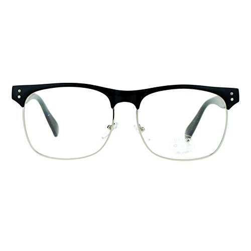 SA106 Black Silver Retro Hipster Classic Half Rim Clear Lens DJ Eye Glasses