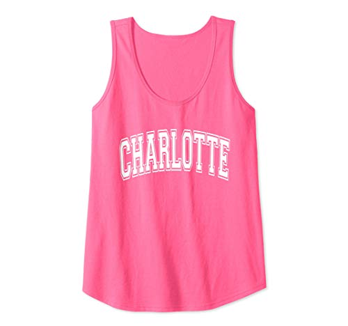 - Womens Charlotte Varsity Style Pink with White Text Tank Top