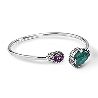 Carolyn Pollack Sterling Silver Rhodolite Garnet and Green Malachite Gemstone Cuff Bracelet Size S, M or L