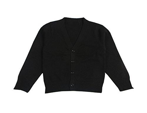 Boys Knit Cardigan (Rjxdlt Little Boys Cardigan Knit Sweaters Long Sleeve Button Cotton Sweater 3Y Black)