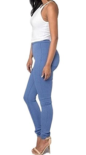 Blu Donna Stretch Fitness Vita Looboo Matita Elastico Leggings Lunghi Alta Denim In A Skinny Jeggings Pantaloni Jeans 1qTTndxa