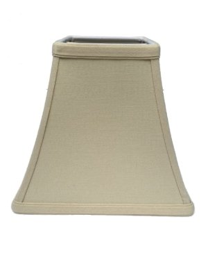 Upgradelights Beige Linen 10 Inch Square Bell Candle Stick Clip On Lampshade - Bell Chandelier Shade Arm