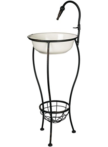 Decorative Basins Decorative Basins - Sullivans N2029 Decorative Vintage Wash Basin on Stand Container, White/Black, 41 x 15.5 Inches