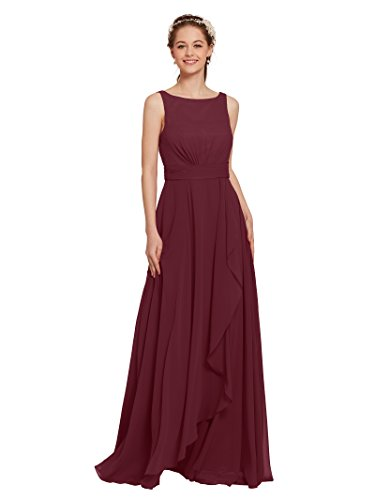 AW Bridal Chiffon Bridesmaid Dress Long Plus Size Formal Prom Party Evening Maxi Dresses Sleeveless, Burgundy, US24