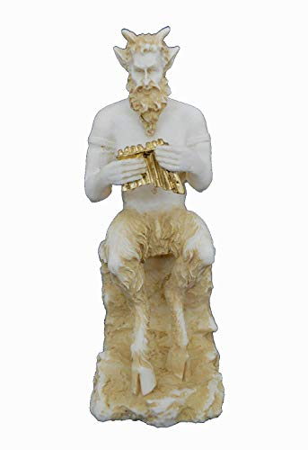 Estia Creations Pan, Panas Sculpture Alabaster Aged Small Statue