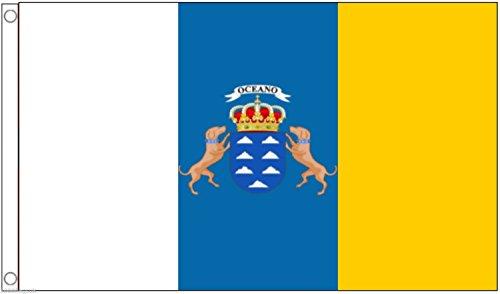 Spain Canary Islands Flag 5'x3' (150cm x 90cm) - Woven Polyester (Canary Islands Flag)