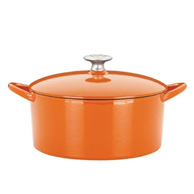Mario Batali by Dansk Enameled Cast Iron Round Dutch Oven, 6-Quart, Persimmon