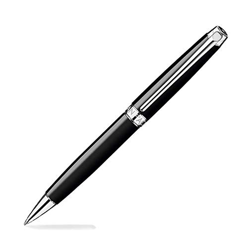 Caran D'ache Leman Ebony Black Lacquered Silver Plated Rhodium Coated Ballpoint Pen