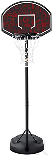 "Basketball Hoop Outdoor Portable Basketball Goal 32"" Basketball Hoops 5.5ft -7.5ft Height Adjustable Basketbal"
