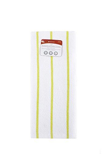 Full Circle Hue - 100% Organic Cotton Modern Kitchen Towel, 15 x 25, White and Lime Stripes
