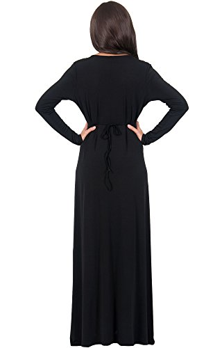 Long Neck KOH Sleeve KOH Maxi Winter Womens V Gowns Formal Kaftan Dress Flowy Black ErYEdqwZn