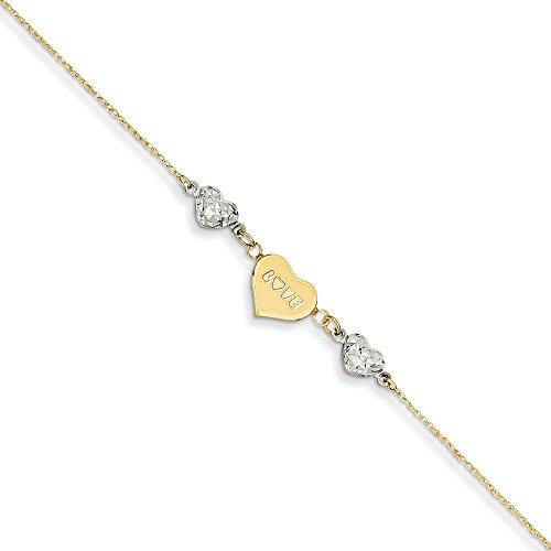 Ropa or bicolore 14carats) perles en fleur cœur Love avec 2,5cm ext Cheville-23cm