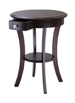 Winsome Wood Sasha Accent Table with Drawer Curved Legs