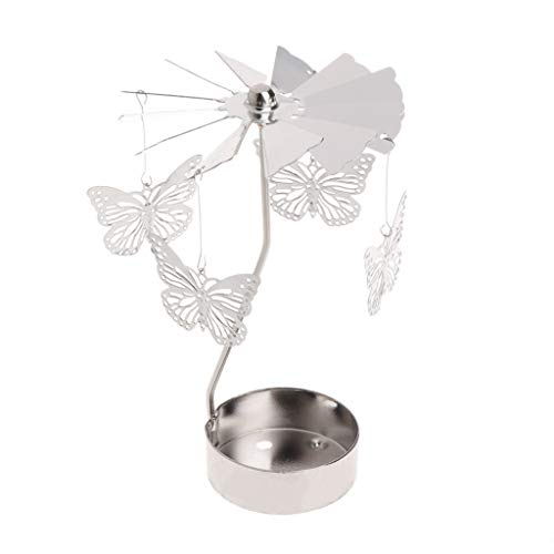 Oranmay Rotary Spinning Tealight Candle Metal Tea Light Holder Carousel Home Decor Gift (Butterfly)