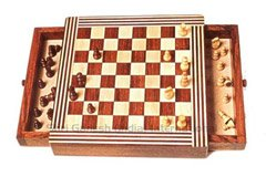 501 G.Rosewood/Maple Wood-Lacquered-Two Drawer-Square Magnetic Chess Size 10