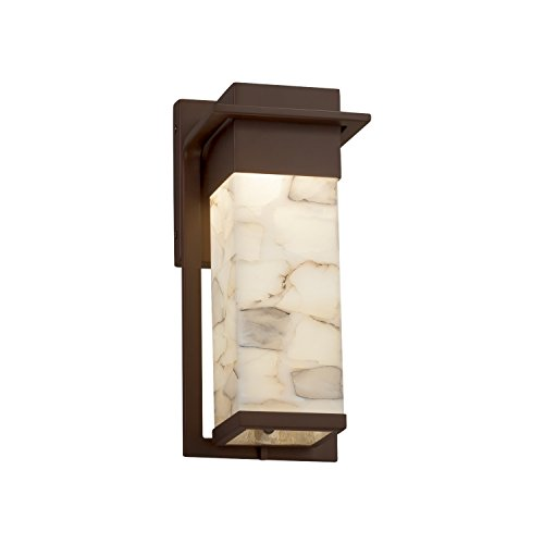 Alabaster Rocks! - Pacific Small LED Outdoor Wall Sconce with Alabaster Rocks Shade - Dark Bronze - Rocks Light Alabaster 12