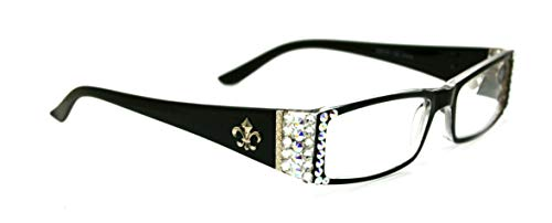The French, Fleur De Lis, Rectangular Bling Women Reading Glasses Adorned with Clear + AB (Aurora Borealis) Swarovski Crystals +1.00 +1.50 +1.75 +2.00 +2.25 +2.50 +2.75 +3.00 Black. NY Fifth Avenue.