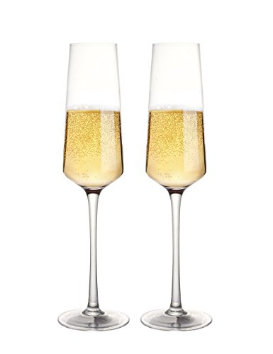 Fecihor Champagne Flute Glasses Premium Clear Crystal Glass Stemware (280ml/9.5 fl oz), 100% Lead Free Reusable Toasting Glass - Perfect for Friends Family Party Wedding (2 Pack)