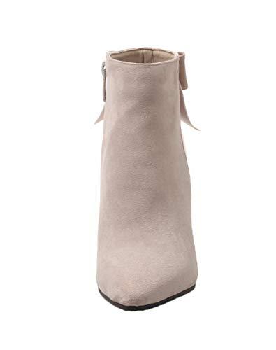 A Agoolar Donna Tessuto Caviglia Punta Stivali Alla Scarpe Medio Tacco Lucido Beige gmmxb112446 q4pxaO4