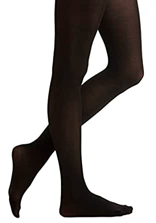 Leg Impressions Ladies Fleece Lined Extra Warm Footed Black Tights S/M