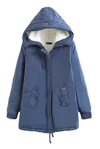 XINHEO Women's Zipper Warm Pocket Velvet Solid Hood Mid-Long Outwear Jacket Denim Blue