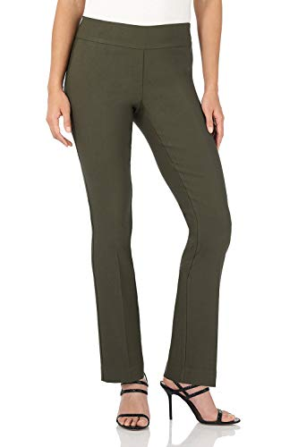 (Rekucci Women's Ease in to Comfort Straight Leg Pant with Tummy Control (14,Olive))