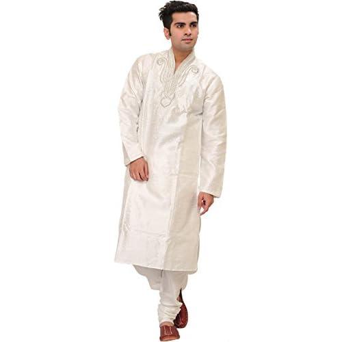 Exotic India Bright-White Wedding Kurta Pajama Set With for cheap