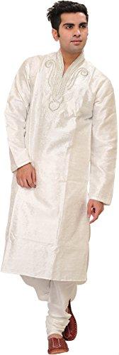 Exotic India Bright-White Wedding Kurta Pajama Set With Size 40 by Exotic India