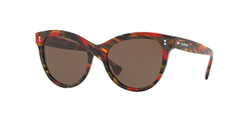 Valentino VA 4013 504073 Red Brown Stripped Plastic Cat-Eye Sunglasses Brown Lens