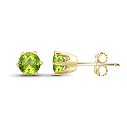 Over Gold Silver Stud (0.50ctw Genuine Peridot Gemstone 14k Gold Over Silver Stud Earrings)