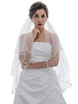 2T 2 Tier Silver Threaded Beaded Wedding Veil Fingertip Length 36""