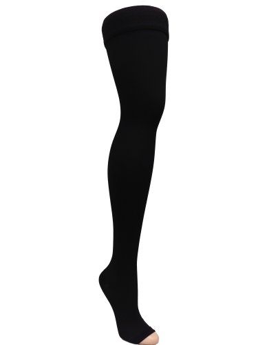 GABRIALLA Open Toe Thigh Highs - Compression (25-35 mmHg): H-306(O)(3), Pack of 3, XX-Large, Black by GABRIALLA