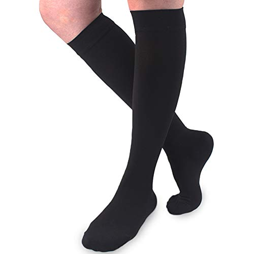Ailaka 20-30 mmHg Knee High Closed Toe Compression Calf Socks for Women and Men, Firm Support Graduated Varicose Veins Hosiery, Travel, Nurses, Pregnancy, Recovery (Black, Large)