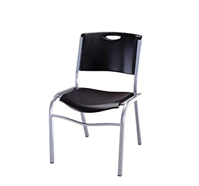 Lifetime 4-Pack Stacking Chair, Black with Silver Steel Frame