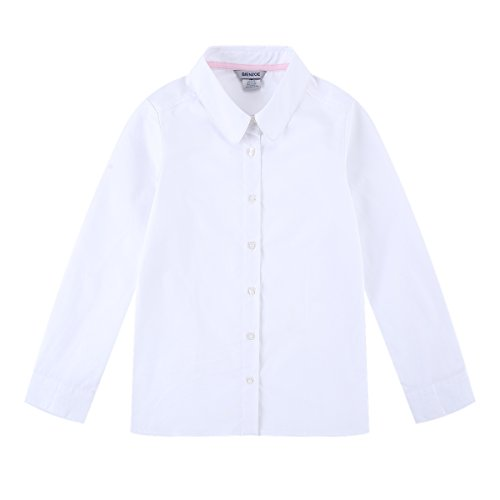 Bienzoe Big Girl's School Uniforms Oxford Long Puff Sleeve Blouse White L