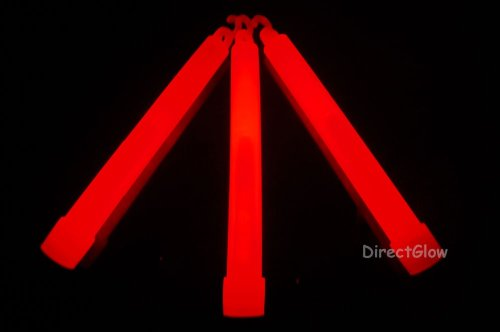 DirectGlow 6 inch 15mm Premium Red Glow Sticks with Lanyards (6 Pack)