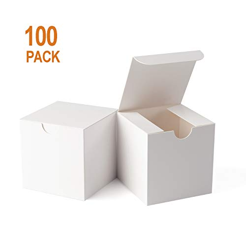 Giftol Small White Gift Box 100 Pack 3 x 3 x 3 inches Fold Box Paper Gift Box Bridesmaids Proposal Box for Bridal Birthday Party Christmas
