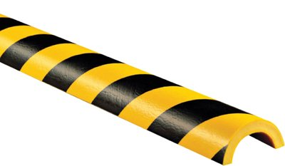 Pipe Protection Bumper Guard Type R1, Striped Black-Yellow, Self-Adhesive, 2'' x 39.37'' by MySafetySign