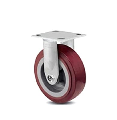 "One Colson Rigid Plate Caster with Maroon Polyurethane 8"" x 2"" Wheel 4-8198-929"